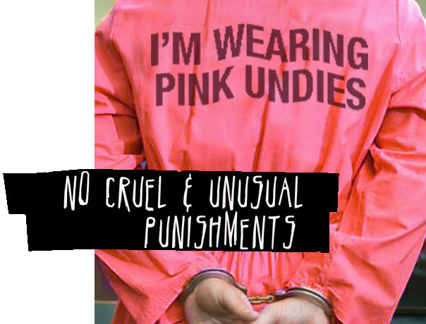photo of pink prison jumpsuit that says i'm wearing pink undies on the back