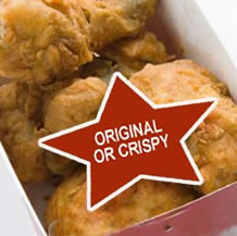 Fried chicken with label that say original or crispy