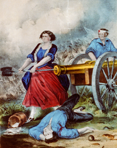 Vintage painting of Woman fighting in Revolutionary War.
