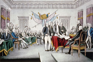 Vintage painting of the Signing the Declaration of Independence.