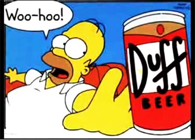 Homer Simpson reaching for a Duff beer
