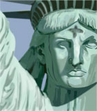 photograph of statue of liberty with ashes on forehead