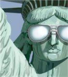 photo of statue of liberty wearing mirror sunglasses