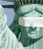 Statue of Liberty blindfolded