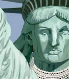 photo of statue of liberty wearing fancy pearls