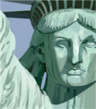 photo of face of the statue of liberty