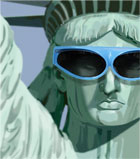 photo of statue of liberty wearing blue sunglasses